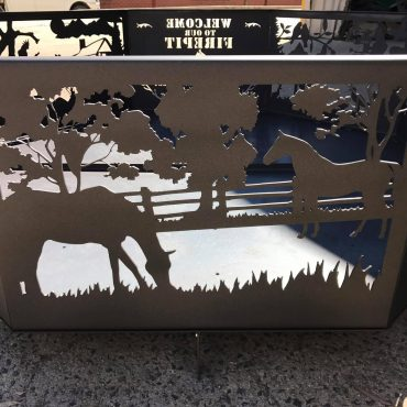 Welcome Fire Pit - Horse Panel
