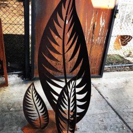Laser Cut Leaves Metal Sculpture