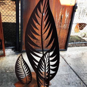 Laser Cut Leaves Metal Sculpture